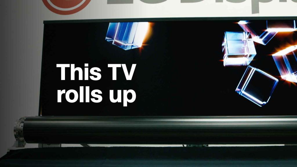 "Watch this 65"" TV roll up like a yoga mat"