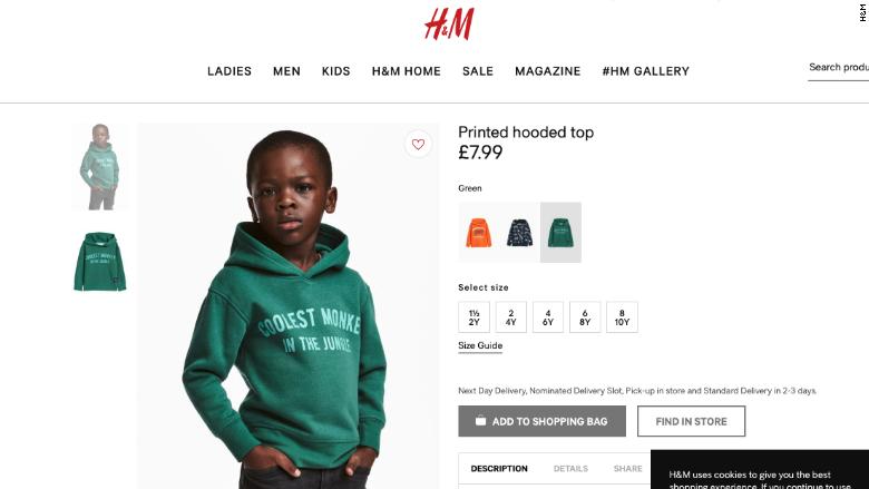 h&m coolest monkey hoodie