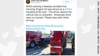 'tesla firetruck crash' from the web at 'http://i2.cdn.turner.com/money/dam/assets/180123120424-tesla-firetruck-crash-336x188.jpg'