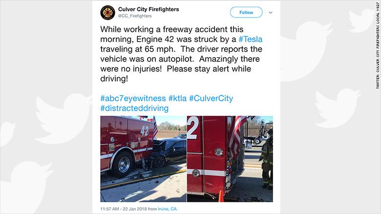 tesla firetruck crash