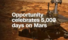 NASA's Opportunity celebrates 5,000 days on Mars