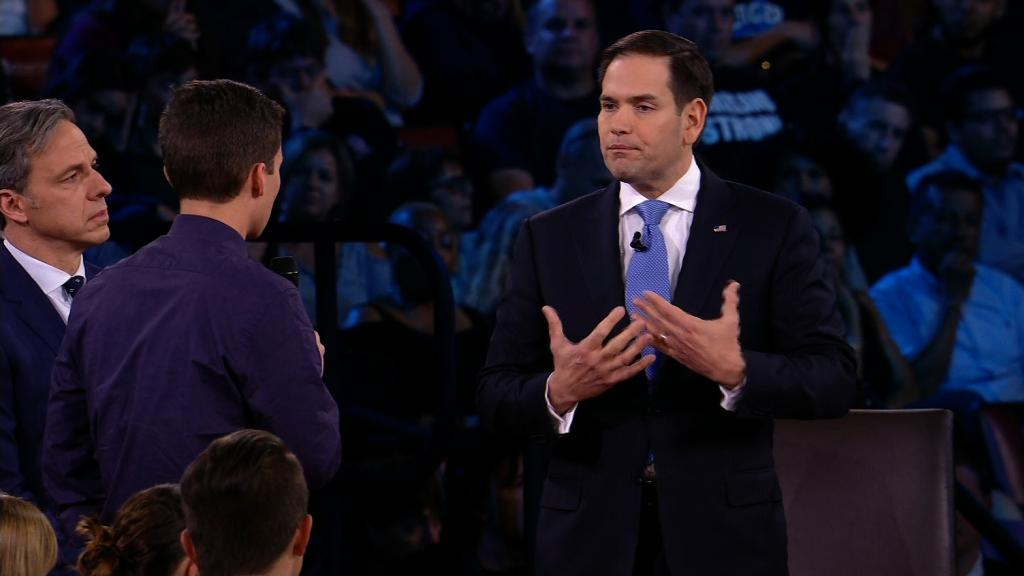 Survivors and relatives punch with Rubio, a NRA