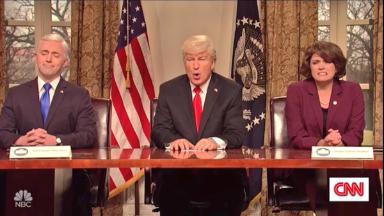 'SNL' returns with Baldwin's Trump talking gun violence
