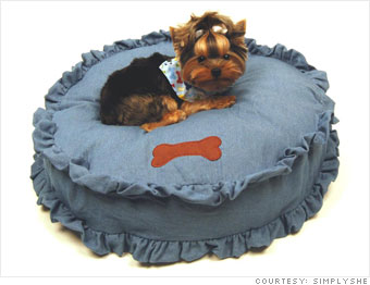 Blue Denim Bed and Multi-Bone Bandana