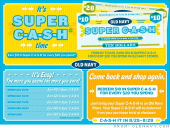 """Look for Old Navy """"Super Cash"""" If you're already registered with Old Navy, you're eligible to ear """"Super Cash"""" and it's awesome. For every $25 you spend, online or in-store, you'll earn $10 in free cash."""