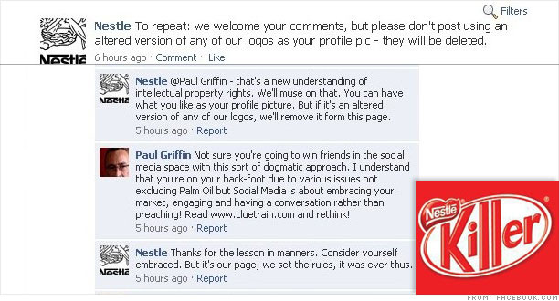 Nestle's Facebook page gets oily