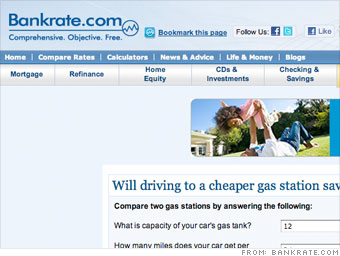 Bankrate's gas calculator