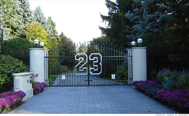 The gates on the estate bear the number 23, the number Jordan famously ...