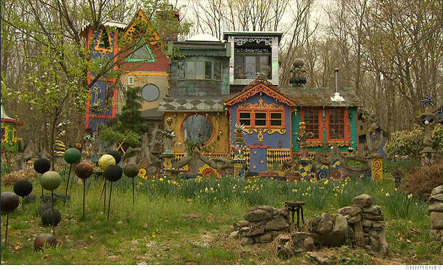 Artist Creates Unique Habitat In New Jersey Woodlands The Artist 39 S House  1 Cnnmoney Exterior House Paintings Gallery