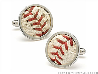 Cufflinks made out of baseballs