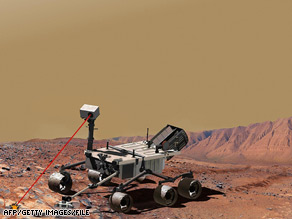 A photo illustration of a laser-equipped vehicle that is set to be part of the Mars Science Laboratory.