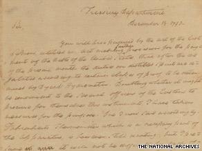 National Archives s historic Alexander Hamilton liquor letter