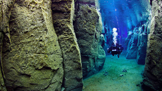 diving at silfra, iceland
