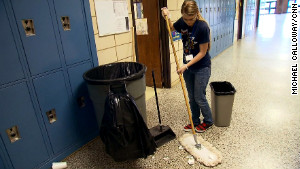 Dawn Loggins says the worst thing about cleaning is snuff cans in urinals.