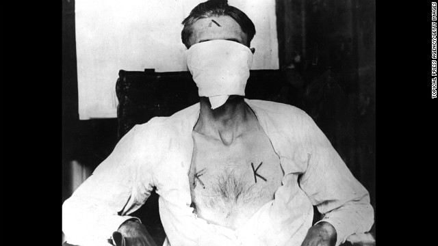 Nelson Burroughs was kidnapped by members of the Ku Klux Klan and branded with hot irons in 1924 because he refused to renounce his Catholic vows.