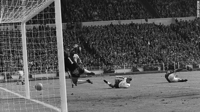 In the 1966 World Cup final, England's Geoff Hurst scored in extra time, leading his country to the only major trophy in its history. Whether the ball ever actually crossed the line is still up for debate.