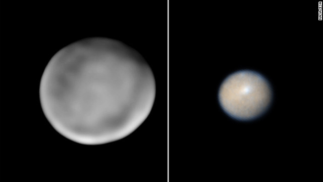 The first asteroid to be identified, 1 Ceres, was discovered January 1, 1801, by Giuseppe Piazzi in Palermo, Sicily. But is Ceres just another asteroid? Observations by NASA's Hubble Space Telescope show that Ceres has a lot in common with planets like Earth. It's almost round and it may have a lot of pure water ice beneath its surface. Ceres is about 606 by 565 miles (975 by 909 kilometers) in size and scientists say it may be more accurate to call it a mini-planet. NASA's Dawn spacecraft is on its way to Ceres to investigate. The spacecraft is 35 million miles (57 million kilometers) from Ceres and 179 million miles (288 million kilometers) from Earth. The photo on the left was taken by Keck Observatory, Mauna Kea, Hawaii. The image on the right was taken by the Hubble Space Telescope.