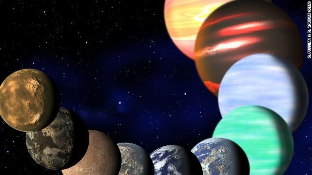 Ovaj umjetnik je ilustracija predstavlja različite planete koje su otkrile NASA Kepler letjelice.