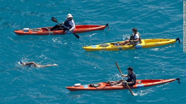 Nyad is escorted by kayakers two miles off the coast of Key West on Monday, September 2.