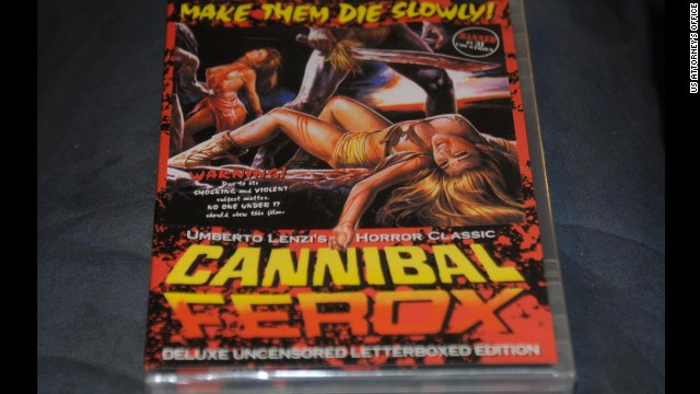 One of the many cannibal-like DVDs Portway kept in his home.