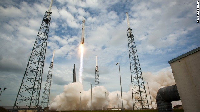 An Atlas V rocket launches MAVEN into space November 18, 2013 from Cape Canaveral Air Force Station, Florida.