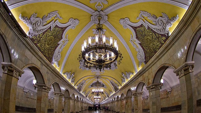 Shall we dance? Looking more like a ballroom than a metro station, Moscow's baroque-style Komsomolskaya stop was inspired by a wartime speech by Stalin.