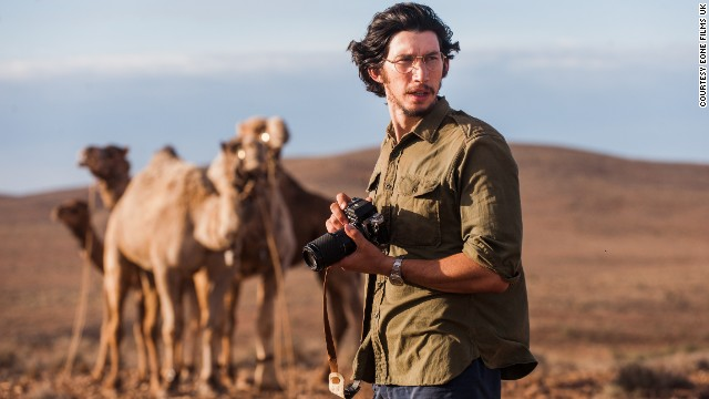 "National Geographic photographer Rick Smolan, played by Adam Driver (pictured), spent three months with Davidson at intermittent points throughout the journey, also becoming her lover. ""I felt like I'd been wearing sunglasses my whole life. But when I got to Australia...the light, the color, the vibrancy was like nothing I'd ever seen,"" Smolan told CNN."