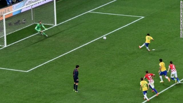 Neymar scores a penalty kick to give Brazil a 2-1 lead. It was Neymar's second goal of the match.