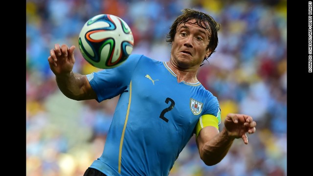 Uruguay defender Diego Lugano in action during the World Cup match against Costa Rica.