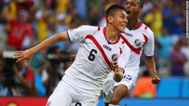 Oscar Duarte celebrates after scoring Costa Rica's second goal against Uruguay during the 2014 FIFA World Cup Group D match at Estadio Castelao in Fortaleza, Brazil, on June 14.