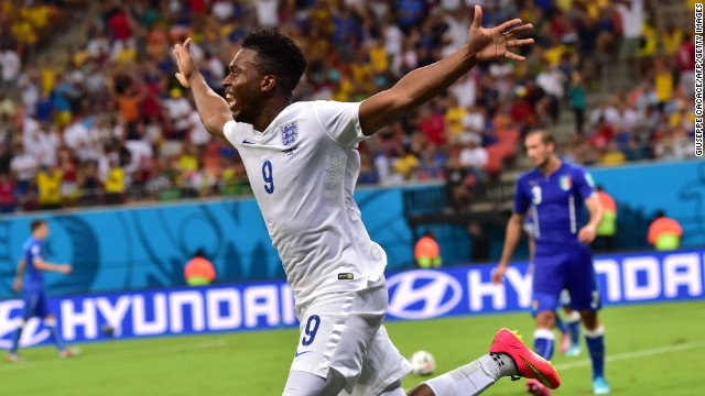 England forward Daniel Sturridge celebrates after scoring a first-half equalizer against Italy in the Group D World Cup match at the Amazonia Arena in Manaus on June 14.