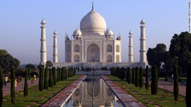 India's most iconic landmark, the Taj Mahal is a white marble mausoleum built by a Mughal emperor in honor of one of his wives.