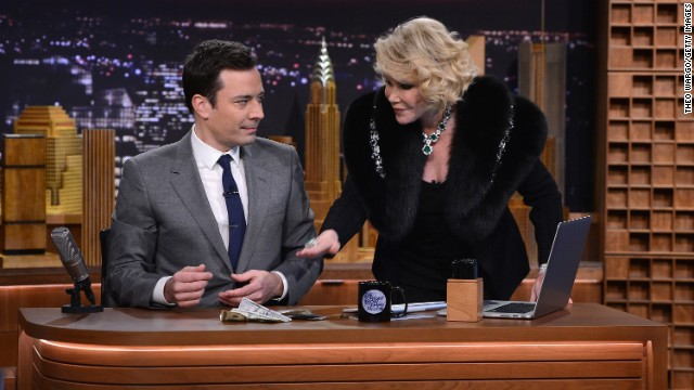 """After a  falling-out with Johnny Carson, Rivers didn't return to the """"Tonight Show"""" until earlier this year, when Jimmy Fallon took over as host. She was a guest on Fallon's show on February 17."""