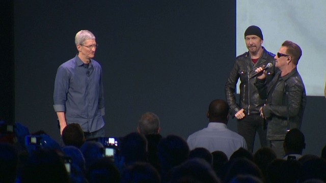 "Digital copies of U2's new album, ""Songs of Innocence,"" were given to all 500 million iTunes customers. Apple automatically sent it to active iTunes accounts, and for those whose settings allowed it, the album was automatically downloaded, causing a social media storm among users who felt way the album was distributed was invasive."
