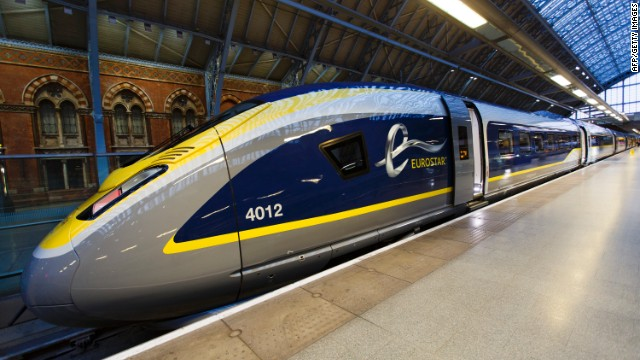 On Thursday, high-speed train operator Eurostar unveiled the new e320 train, which will go into service next year. The train is named for its max speed -- 320 kph, or 200 mph.