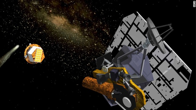 An artist's rendering of the Deep Impact flyby spacecraft releasing its impactor, 24 hours before the impact event, in July 2005. Pictured from left to right are comet Tempel 1, the impactor and the flyby spacecraft. The impactor was a 370-kilogram mass with an onboard guidance system. The flyby spacecraft included a solar panel, a high-gain antenna, a debris shield and instruments for high- and medium-resolution imaging, infrared spectroscopy and optical navigation (yellow box and cylinder, lower left).