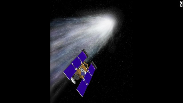 "The Stardust spacecraft, shown in an artist's rendering, was launched on February 7, 1999, from Cape Canaveral, Florida, aboard a Delta II rocket. The primary goal of Stardust was to collect dust and carbon-based samples during its closest encounter with Comet Wild 2 (pronounced ""Vilt 2,"" named after its Swiss discoverer)."