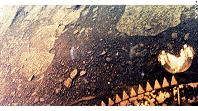 This image is part of the first color panoramic view from Venus. A TV camera on the Soviet Venera 13 lander that parachuted to the surface in 1982 transmitted it.