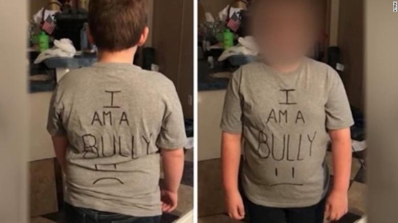 mom facing heat after making 5th grade son wear i am a bully shirt