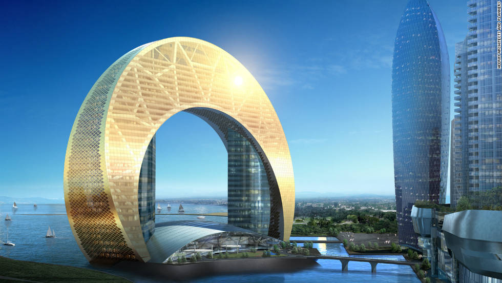 Under development in the oil-rich Azerbaijani capital of Baku, the 33-story Hotel Crescent will become the centerpiece of the sprawling 450,000-square-meter Crescent Bay skyscraper complex. Due to open in late 2016, it'll be located on an artificial island.