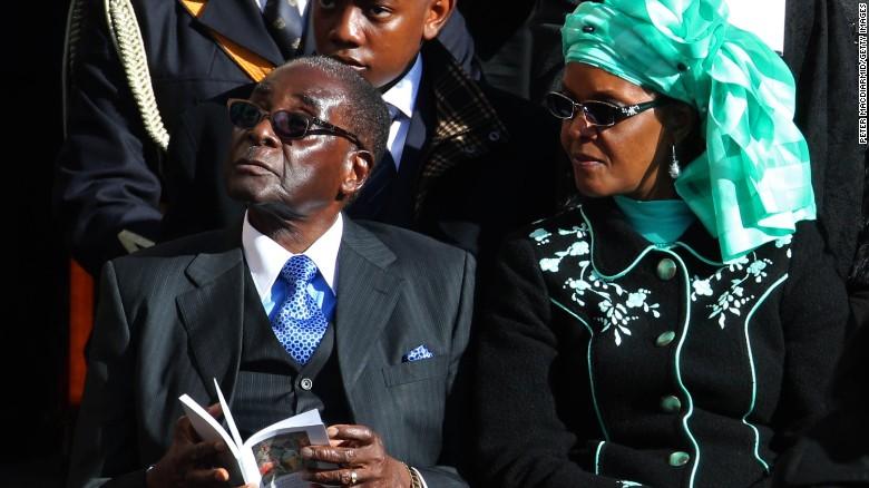 Grace Mugabe with the current President of Zimbabwe, Robert Mugabe.