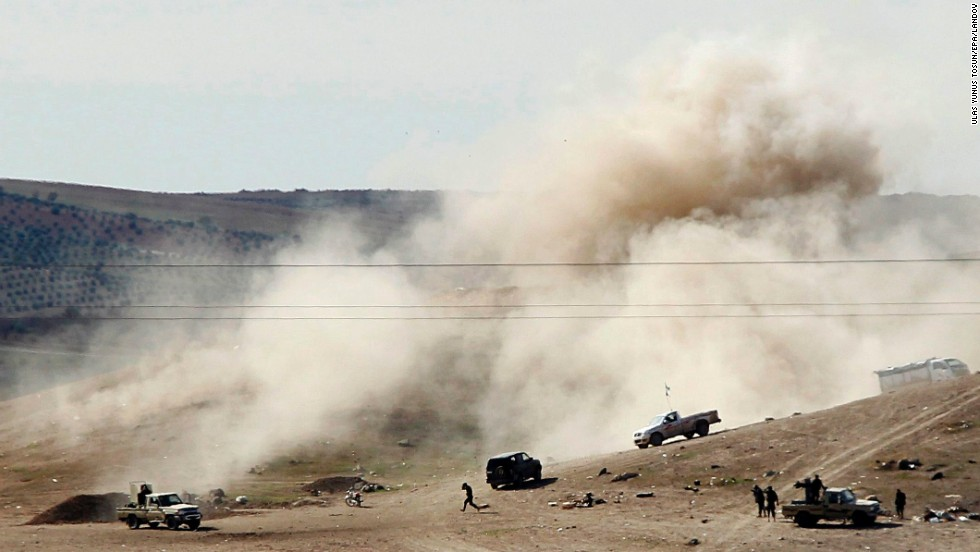 A design taken from Turkey shows fume rising after ISIS militants dismissed trebuchet shells toward an area tranquil by Syrian Kurdish fighters circuitously Kobani on Monday, Nov 3.