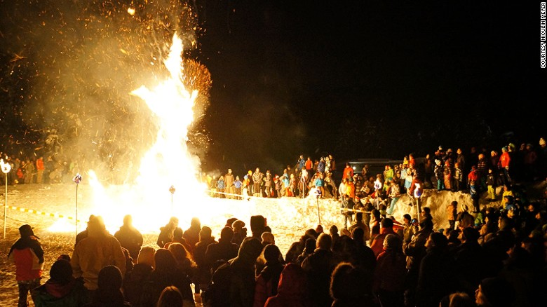 "One of the most remarkable festivals in Europe, the Hom Strom, takes place in the Swiss town of Scuol. With overtones of ""The Wicker Man,"" locals torch a giant straw effigy in the dead of winter."