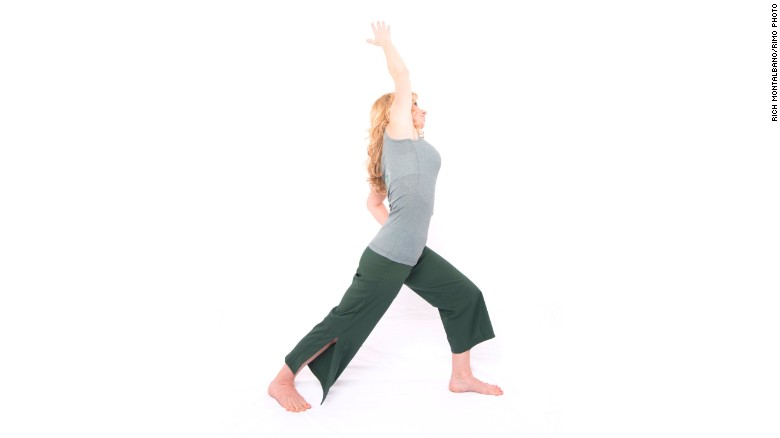 Warrior one with side bend: Lengthens calves, hip flexors and side waist muscles.<br />