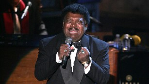Percy Sledge belts out a vocal at his Rock and Roll Hall of Fame ceremony in 2005.