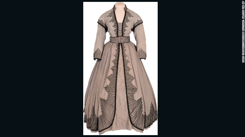 """The outfit worn in several scenes of the 1939 film """"Gone With the Wind"""" by Vivien Leigh as she played Scarlett O'Hara. It fetched $137,000 at an auction."""