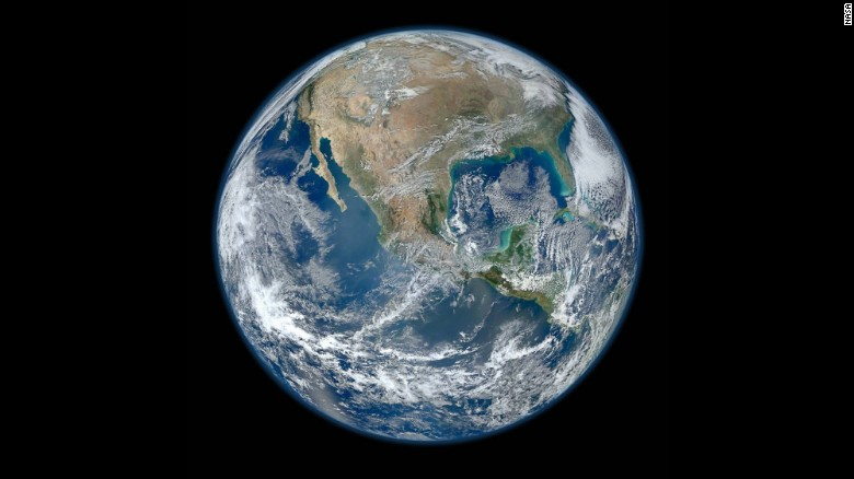 A Blue Marble image of the Earth taken from the VIIRS instrument aboard NASA's Earth-observing satellite, Suomi NPP. This composite image uses a number of swaths of the Earth's surface taken on January 4, 2012.