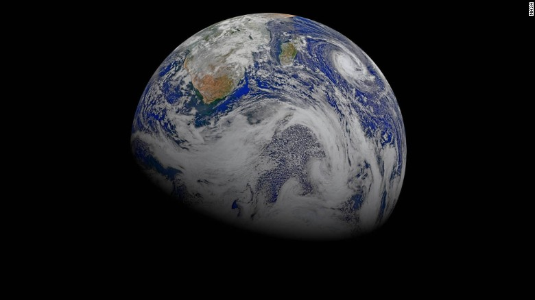 Data from six orbits of the Suomi-NPP spacecraft have been used to create this composite of southern Africa and its surrounding oceans. You can see Tropical Cyclone Joalane swirling over the Indian Ocean, as seen on April 9, 2015.