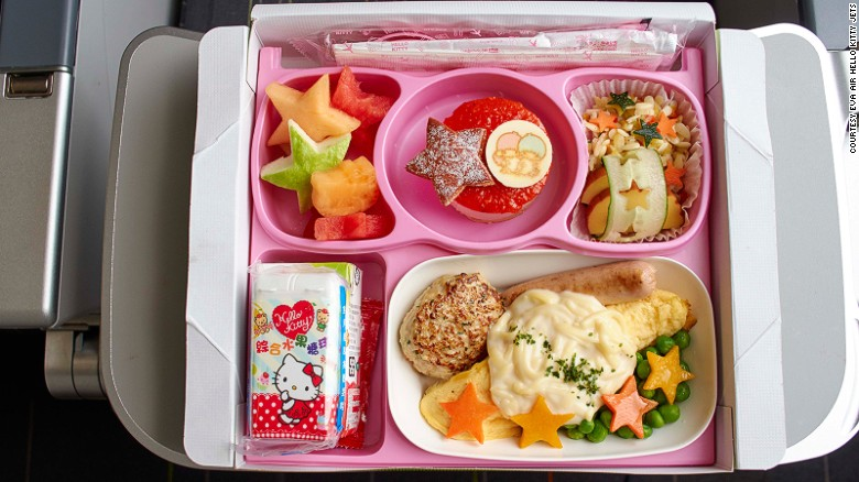 EVA's Hello Kitty jets feature more than 100 branded inflight items, including headrest covers, blankets, pillows, and, of course, Hello Kitty-themed meals.