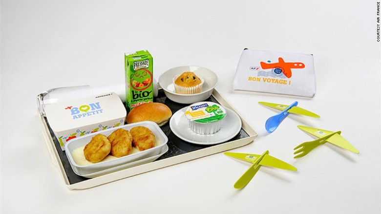 Kids flying Air France can play with their food thanks to Catalan designer Eugeni Quitllet, who created a spoon, fork and knife that can be transformed into a small model aircraft.